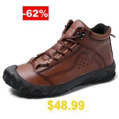 AILADUN #Men #Solid #Color #Outdoor #Tooling #Shoes #Leisure #Full #Grain #Leather #Footwear #- #BROWN