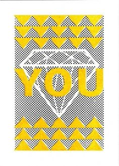 il_fullxfull.130720826.jpg 751×1051 pixels #yellow #diamond #design #screenprint