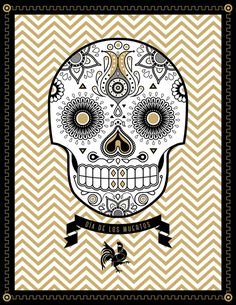 Day of the Dead #rooster #banner #zig #of #zag #the #day #dead #skull #flowers