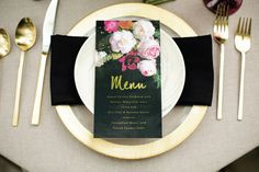 menu #setting #fancy #black #elegant #number #gold #foil #outdoor #table #velvet