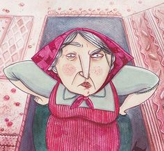 "Zaczarowana Walizka - illustration for ""Hansel and Gretel"" #lady #old #candies #grandma #fairytale #illustration #witch #watercolor #sweets #anger"