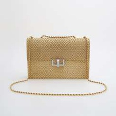 Evening bag made of finely textured Gold with diamond-set Clasp