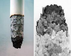 yang yongliang: cigarette ash landscape #paper