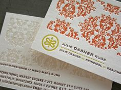 Julie Dasher Business Cards #demartino #business #card #letterpress #on #laurie #fire #studio #collateral