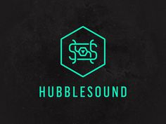 HubbleSound logo mark #bass #hubble #space #label #monogram #record #sound #logo #hexagon
