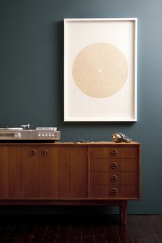 Record player on sideboard