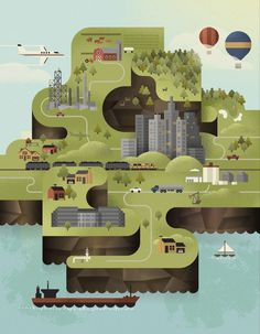 Luke Bott Island Illustration #illustration #building #water #island #boat #cars #luke #land #bott