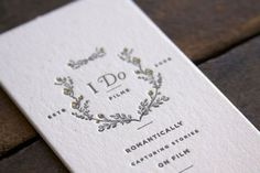 Design Work Life » Two Paperdolls: I Do Films Branding #wedding #businesscard #letterpress #film