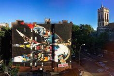 bird, mural, hawk, abstract, wall, building, color