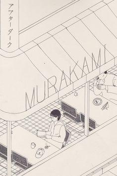 Murakami #illustration #lines #restaurant