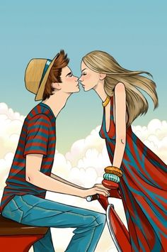 | Anna Lazareva Illustration #red #girl #boy #breeze #hat #summer #blue #moped #kiss
