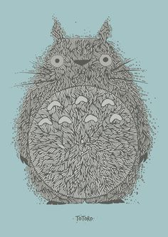 Blue Totoro Art Print #illustration #organic #japan #totoro #line art #ghibli
