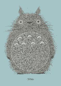 Blue Totoro Art Print
