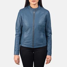 Kelsee Blue Leather Biker Jacket For Women 4-1551972280789