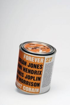 ETHAN CLARK #type #packaging #orange #can #bold