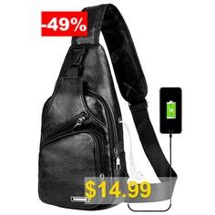 USB #Charging #Chest #Bag #Casual #Fashion #- #BLACK