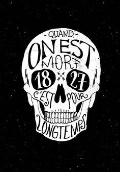 Skull #handdrawn #french #skull #death #typography