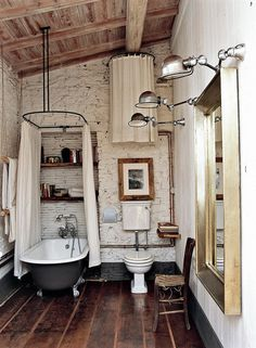 Rustic + Industrial : The Devious Moose #rustic #bathroom #bathtub