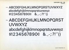 Univers 55 type specimen
