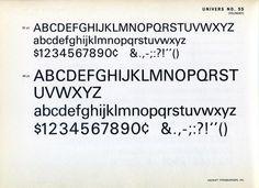 Univers 55 type specimen #type #specimen #typography