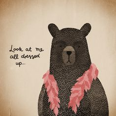 Michelle Carlslund Illustration: Bear Dress-up pink #handlettering #nordic #pink #danish #fur #feathers #rouge #boa #illustration #irony #scandinavian #poster #bear #humor