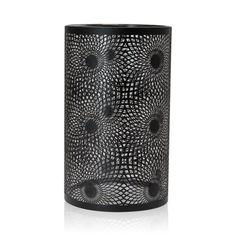 Jans Black Metal Swirl Hurricane Candle Holder, 25 cm