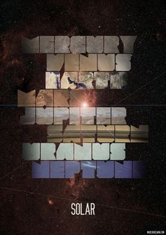 Solar - Marcus Kelman #solar #saturn #jupiter #design #mercury #venus #texture #space #earth #mars #stars #type #planets #typograph #typography