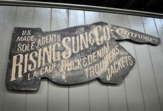 Rising Sun & Co. Booth at Project Las Vegas: Designer Denim Jeans Fashion: Season Collections, Runways, Lookbooks and Linesheets #sign #signpainting #vintage