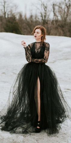 black wedding dresses ball gown with long sleeves lace sweet caroline