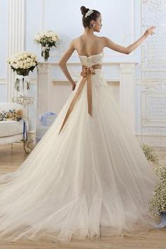 Robe de mariée naturel textile en tulle avec lacets manche nulle col en forme de cœur - photo 2