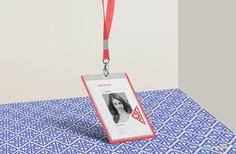 Free corporate ID card mockup.
