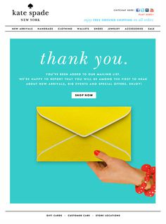 Thank You Kate Spade #design #concept #thank you #mailer #newsletter #emailer #subscribe