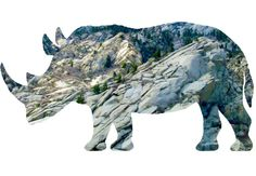 The outline a Rhino filled with the image of the side of a mountain.
