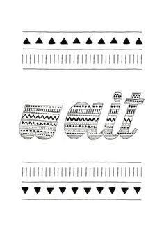 Wait (White) Art Print #lettering #pattern #handlettering #type #typography