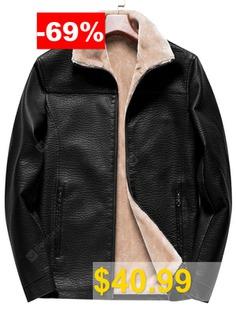 Men's #Winter #Handsome #Turn-down #Collar #Jacket #Solid #Color #Casual #Top #Keep #Warm #Coat #- #BLACK
