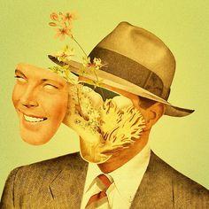 http://facebook.com/dromsjel #collage #face #hat #vintage #flowers #weird #odd #illustration #bizarre