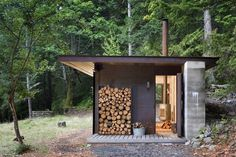 Olson Kundig Architects - Projects - Gulf Islands Cabin #corten #storage #tom #wood #architecture #cabin #kundig