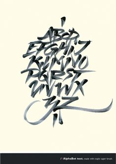 I enjoy the unique calligraphy style of the letters. #calligraphy #greg #alphabet #brush #papagrigoriou #typography