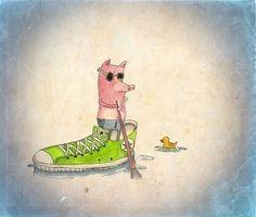 Kayak on the lake Art Print by Calvin Wu | Society6 #kayak #illustration #drawn #lake #fun