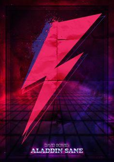 David Bowie's Aladdin Sane #rock #copper #itc #retro #futuristic #black #serif #gothic #music #bowie