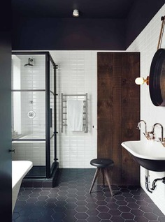 "remodelproj: ""Black and dark wood bathroom """