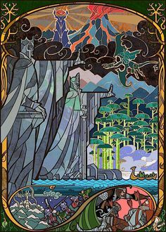 Scenes from Lord of the Rings as stained glass windows