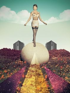 Everlasting Gaze - Julien Pacaud • Illustration • Perpendicular Dreams #illustration #collage