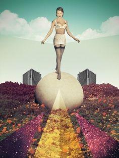 Everlasting Gaze - Julien Pacaud • Illustration • Perpendicular Dreams #illustration #collage