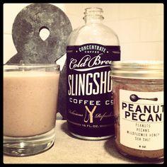 In a blender add:\\\\n\\\\n2 bananas, sliced and frozen\\\\n2 tablespoons peanut butter (we used Big Spoon Roasters)\\\\n1/2 cup Slingshot C