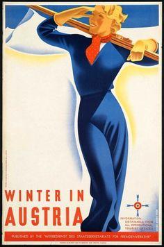 vintagePosters36.jpg 995×1,500 pixels #woman #ski #skiing #modernism #blue #winter
