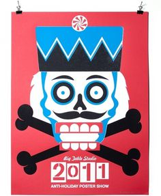 Inkcicles Anti-Holiday Poster show - Andrew Kiekhafer #skull #silkscreen #poster