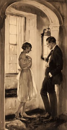 LESLIE LANGILLE BENSONthe lovers vintage illustration #illustration #painting #lovers #vintage #20s #couple #window #love #light #black and