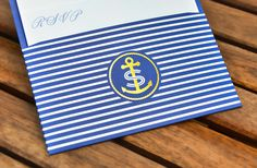 striped pocket #travaille #monogram #identity #gold #navy #anchor #metallic #nautical