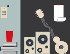 a little things - ied show on the Behance Network #guitar #cups #books #speakers